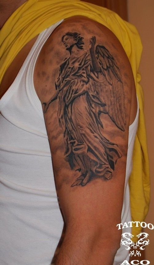 dea9a042c45c9 Tattoo on Luca's right arm. Download Free guardian angel tattoos designs  for men to use and take to your artist.