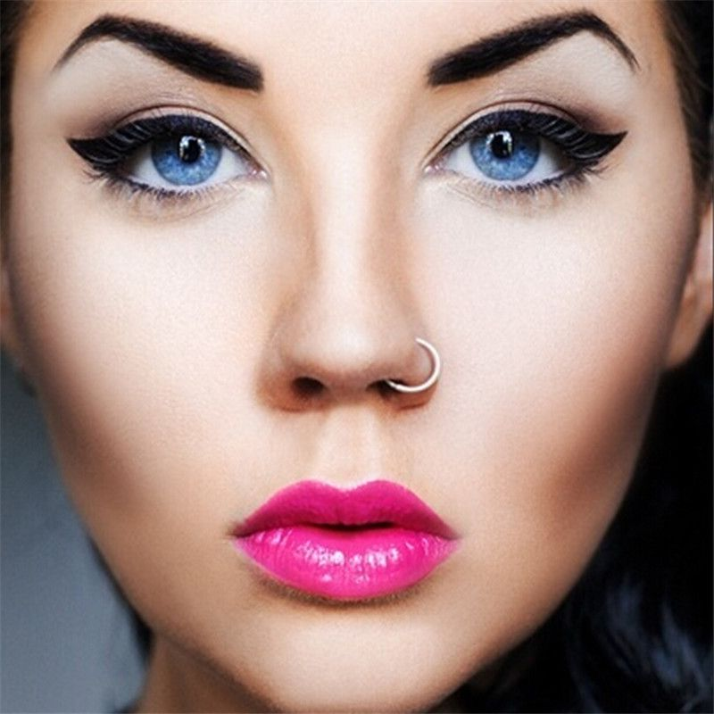 Medical-Titanium-Gold-Silver-Nose-Hoop-Nose-Rings-clip-on-nose ...