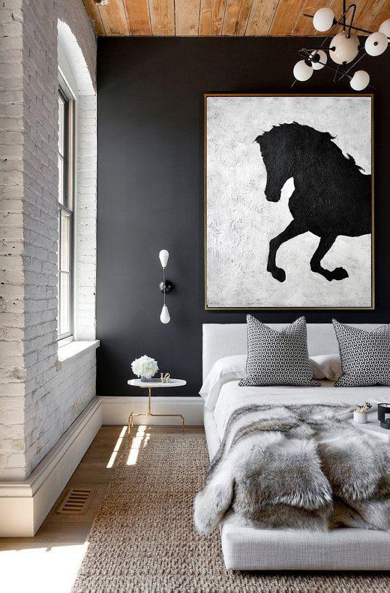 Vertical Minimal Art #MN228A White horses, Minimalist and Oil - kommode für wohnzimmer