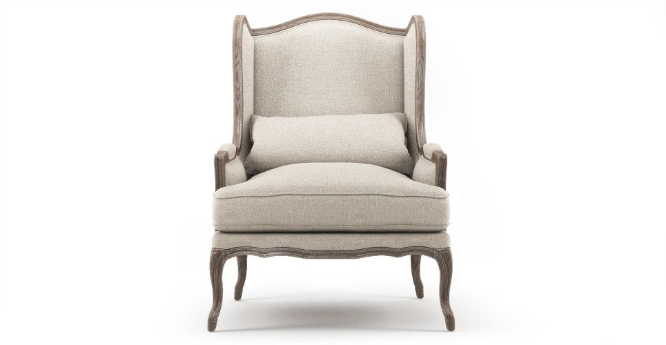 Wingback French Provincial Armchair Antique Rustic Brosa