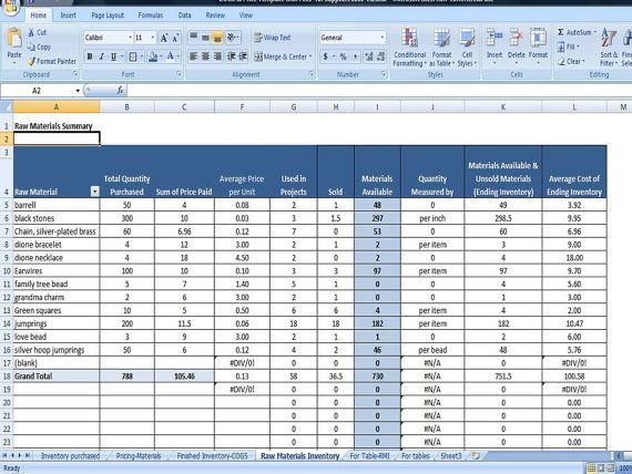 Raw Materials Inventory Management For Handmade Sellers Complete Inventory System Business Worksheet Raw Materials Monthly Budget Spreadsheet