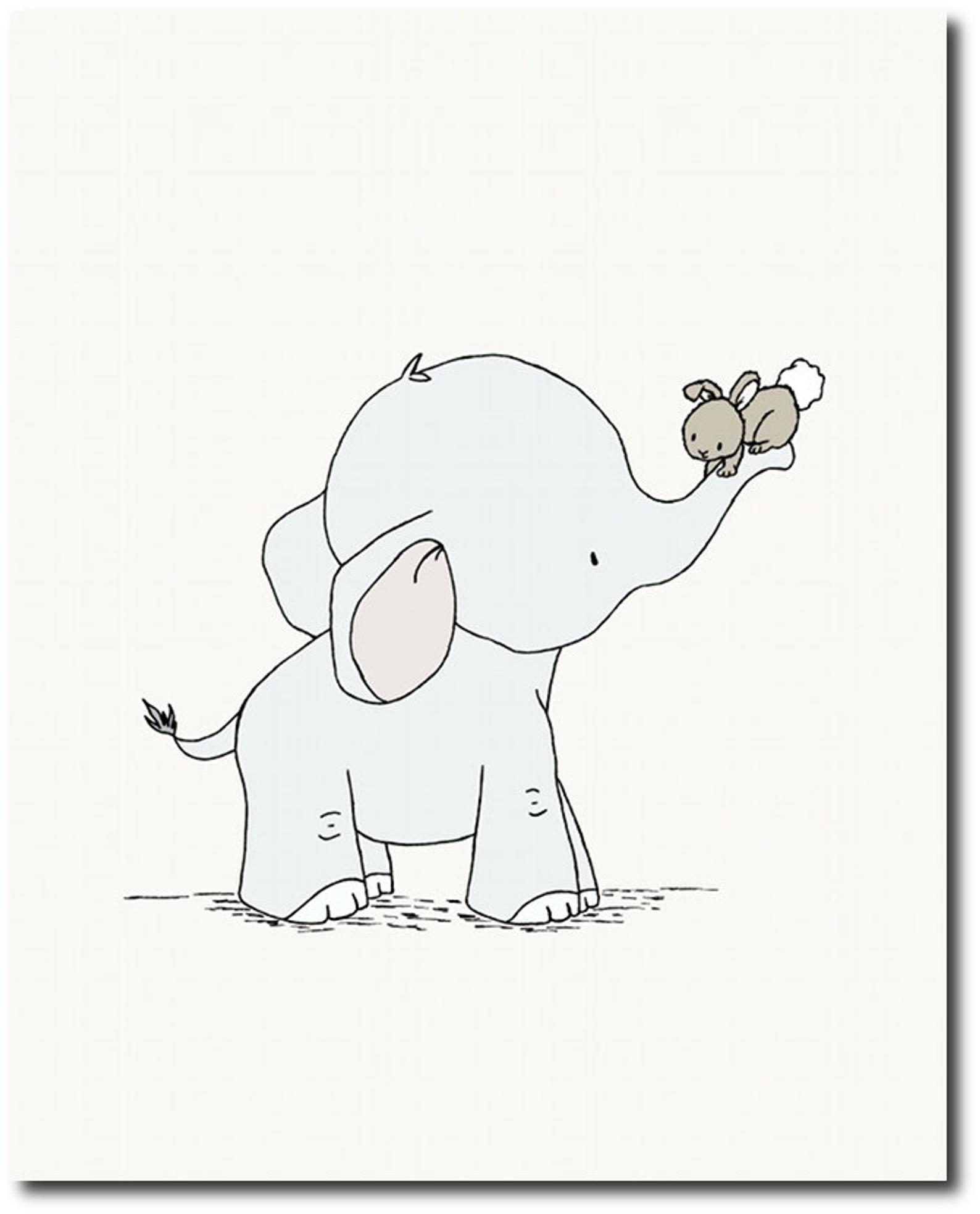 elephant nursery decor  elephant and bunny  set of 3