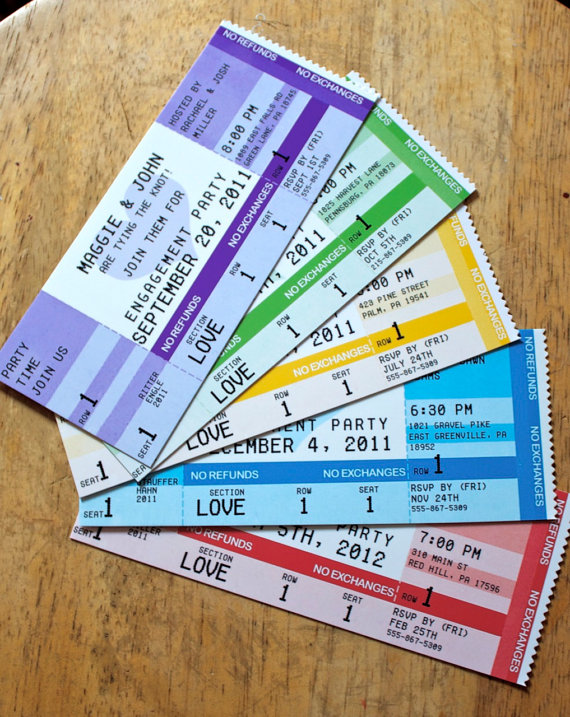 concert ticket invitations single sided with envelopes home