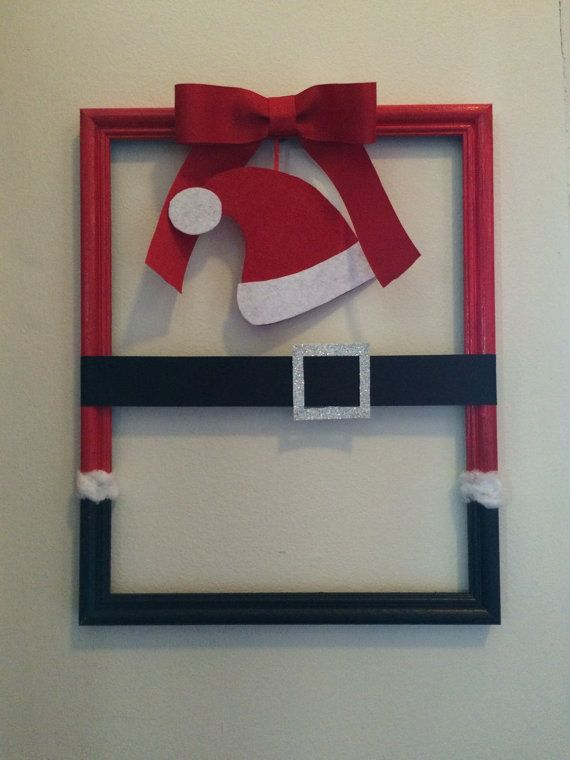 Santa Claus Picture Frame Wreath, Christmas Wreath, Picture Frame ...