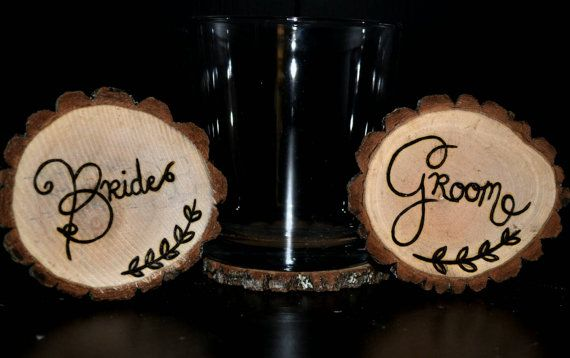 Handcrafted 'Bride & Groom' Woodburned Coasters by ZSDesign