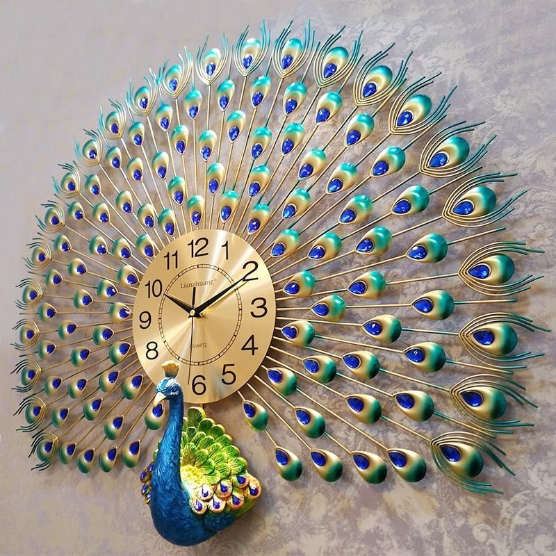 Large Peacock Digital Wall Clocks Peacock Wall Art Peacock