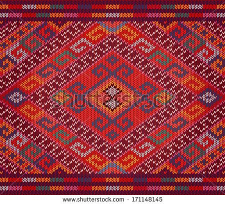 Knitted traditional Ukrainian (slavic, slavonic) national ornament, seamless pattern, vector. - stock vector