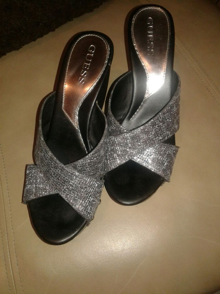 35d9605b6f2 GUESS Black Silver Glitter Platforms Heels Size 9M  fashion  clothing   shoes  accessories  womensshoes  heels (ebay link)