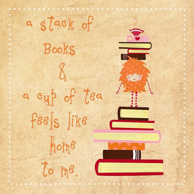Stack of books and a cup of tea...