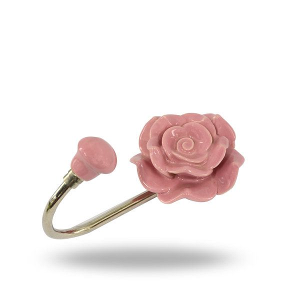 Pair 2 Pcs Metal Ceramic Wall Door Coat Hanger Hook Rose Flower Theme Heavy Duty Pink