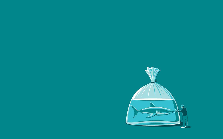 Shark Water Bag Stupid Man Minimal Desktop Wallpaper Miscellaneous