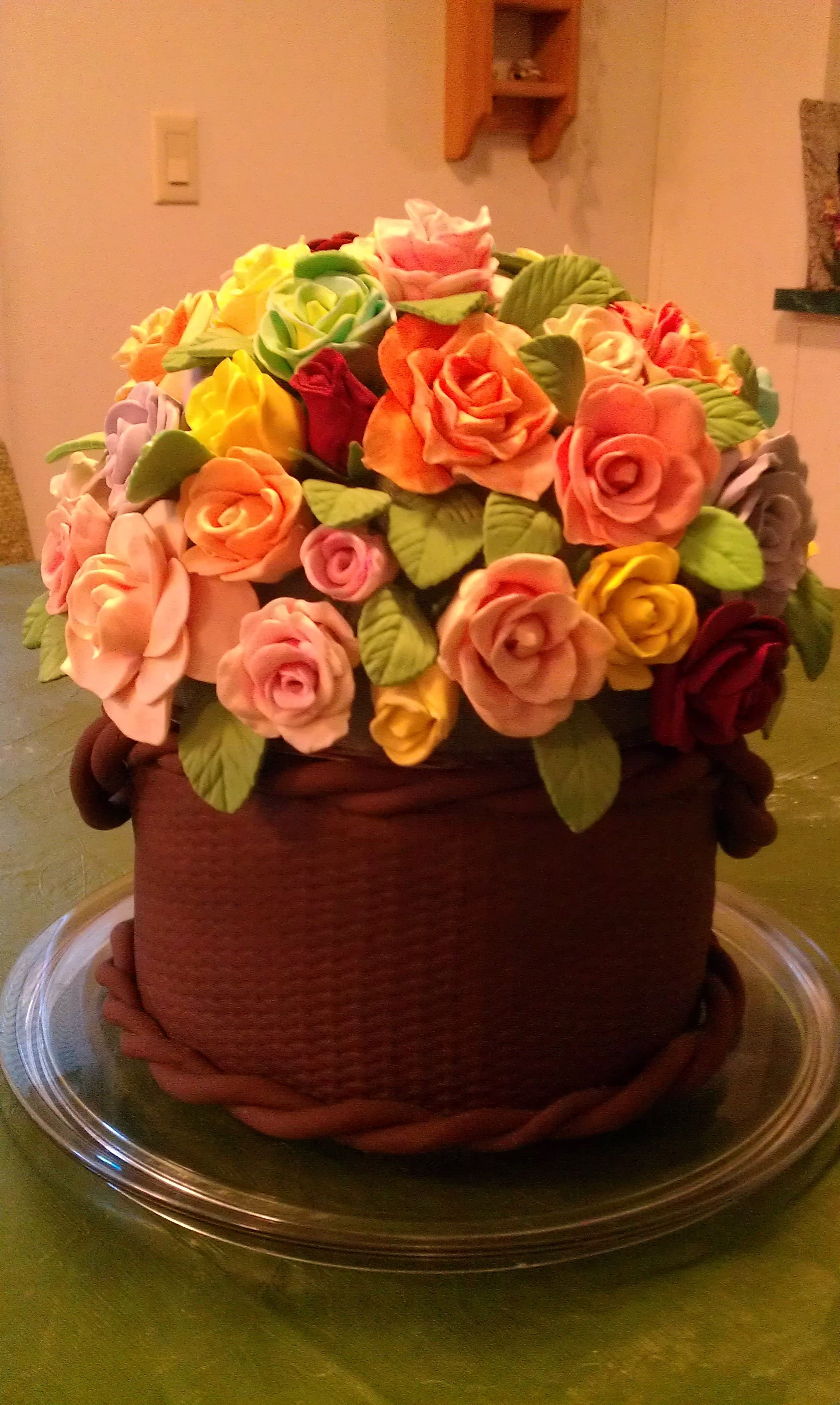 Gumpaste rose basket cake for th birthday birthday cakes in