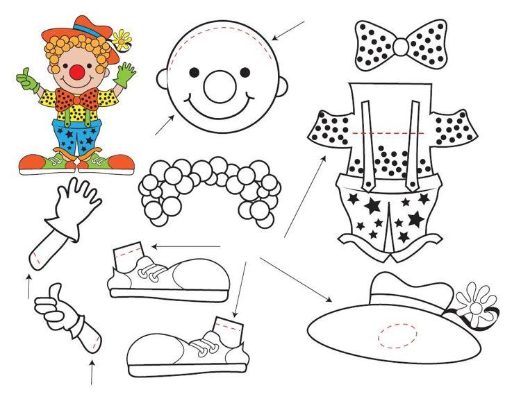 Clown ausmalen teile zusammenstellen #children #print #carnival ...