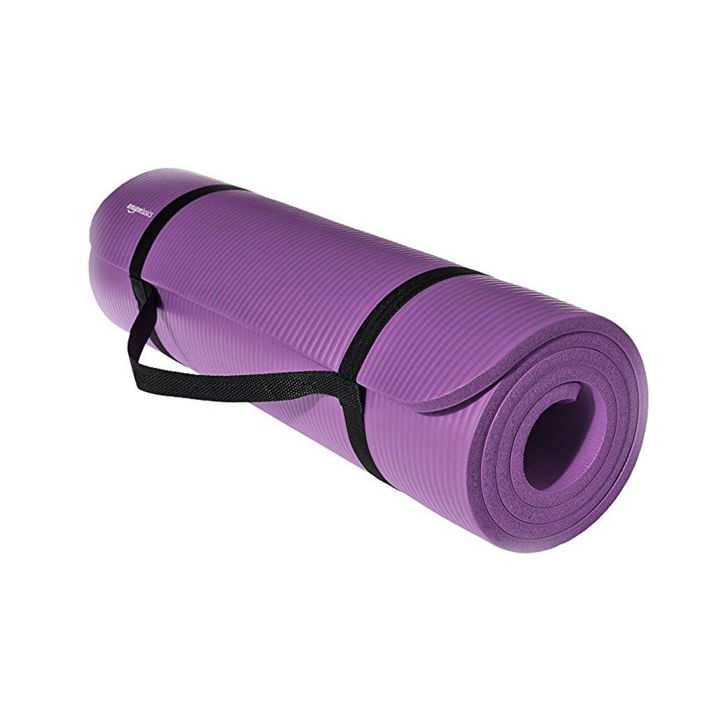 Hontiano Exercise Yoga Mat 1 2inch Extra Thick Exercise Mat Yoga Mat Fitness And Workout W Carrying Strap Purple Mat Exercises Thick Exercise Mat Yoga Mat