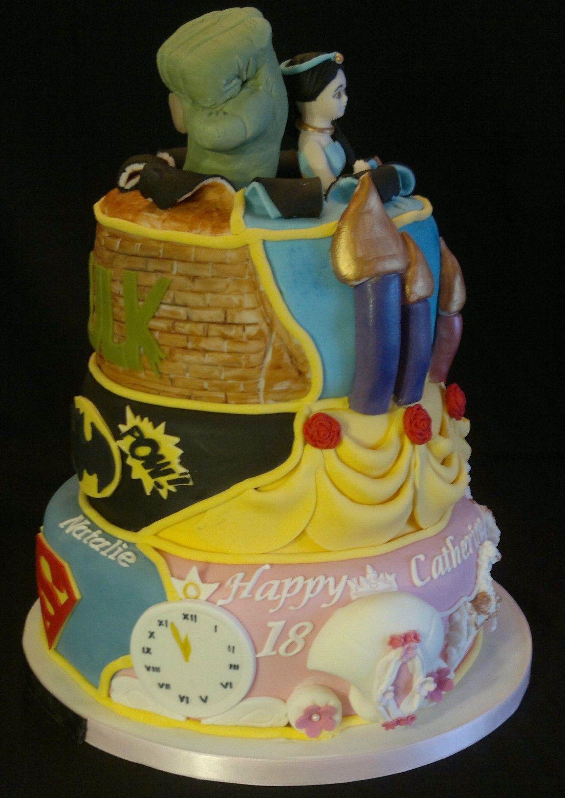 Superhero/Princess 3 tier cake x | Princess & Superhero Party ...