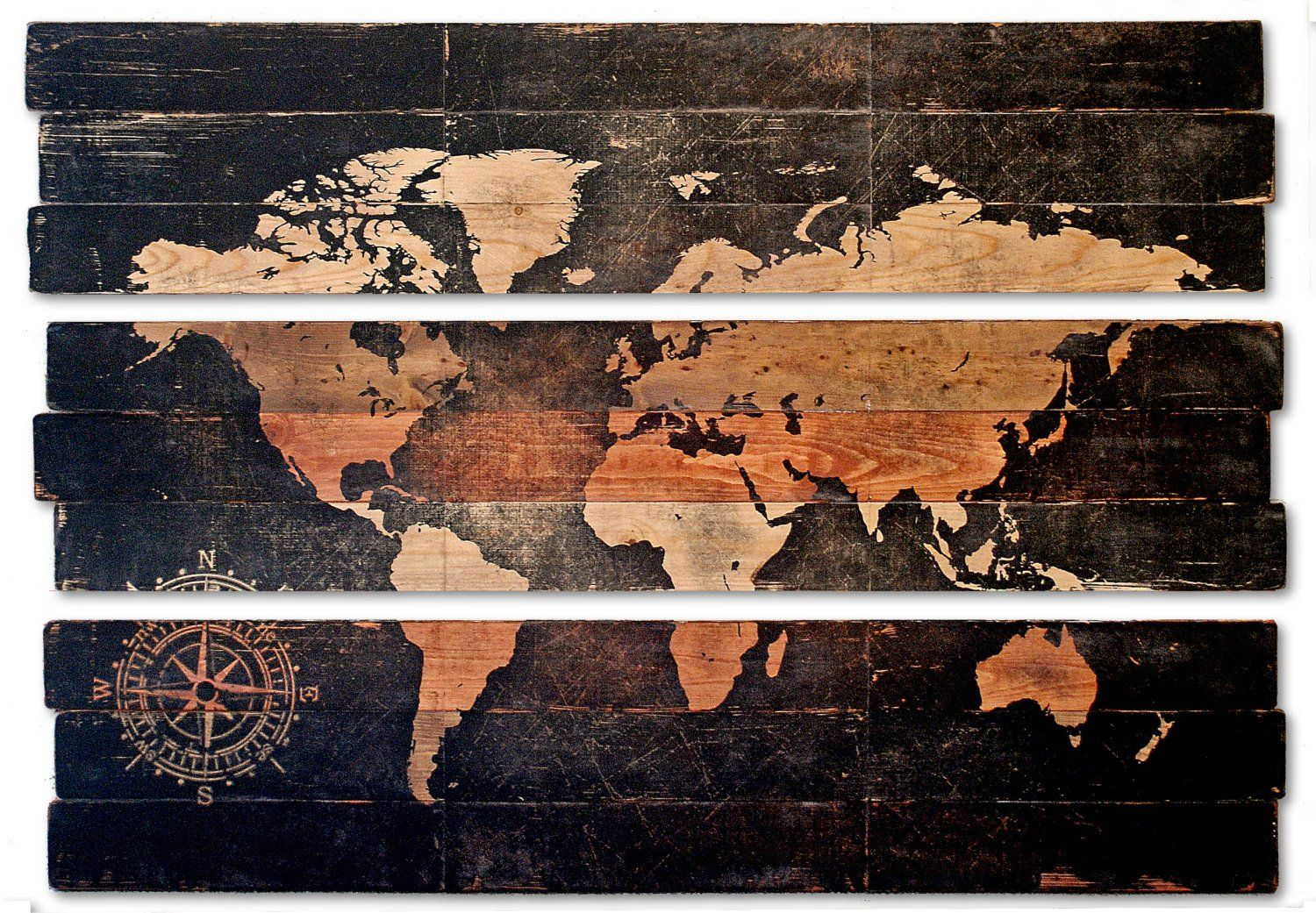 Extra large world map and compass triptych wall art on distressed