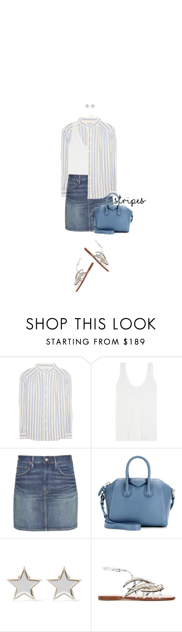 """Blues Stripe"" by hollowpoint-smile ❤ liked on Polyvore featuring Closed, The Row, Polo Ralph Lauren, Givenchy and Miu Miu"