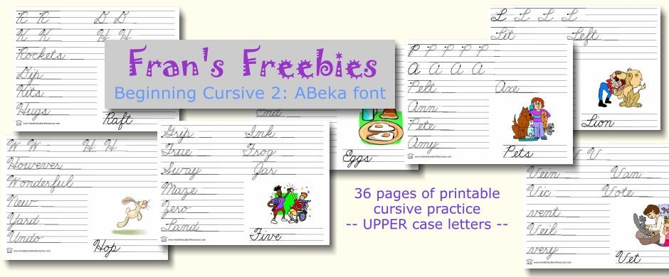 Fran S Freebies Beginning Cursive 2 Abeka Font H E R For Educators Math Worksheets Abeka Cursive In 2021 Math Worksheets Abeka Free Math Worksheets Free abeka worksheets