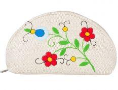Duża półokrągła kosmetyczka - haft kaszubski - dwa czerwone kwiatki
