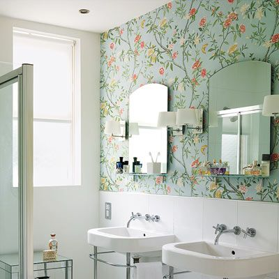 Editors 39 picks our favorite blue bathrooms wallpaper for Floral bathroom wallpaper