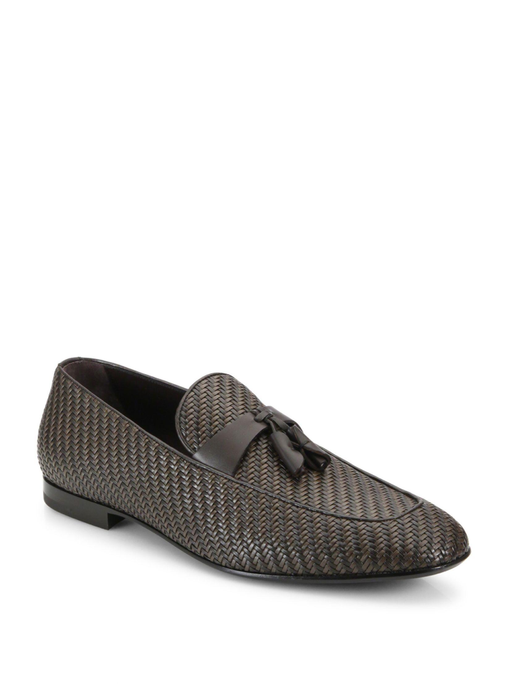 c90483c0a79a Ermenegildo Zegna Pelle Tessuta Leather Loafers