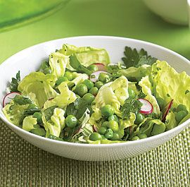 Pea, Butter Lettuce & Herb Salad by Annie Wayte, finecooking: This salad is best with very fresh, young peas that are tender enough to be eaten just barely blanched or even raw. #Salad #Peas #Herbs #Spring