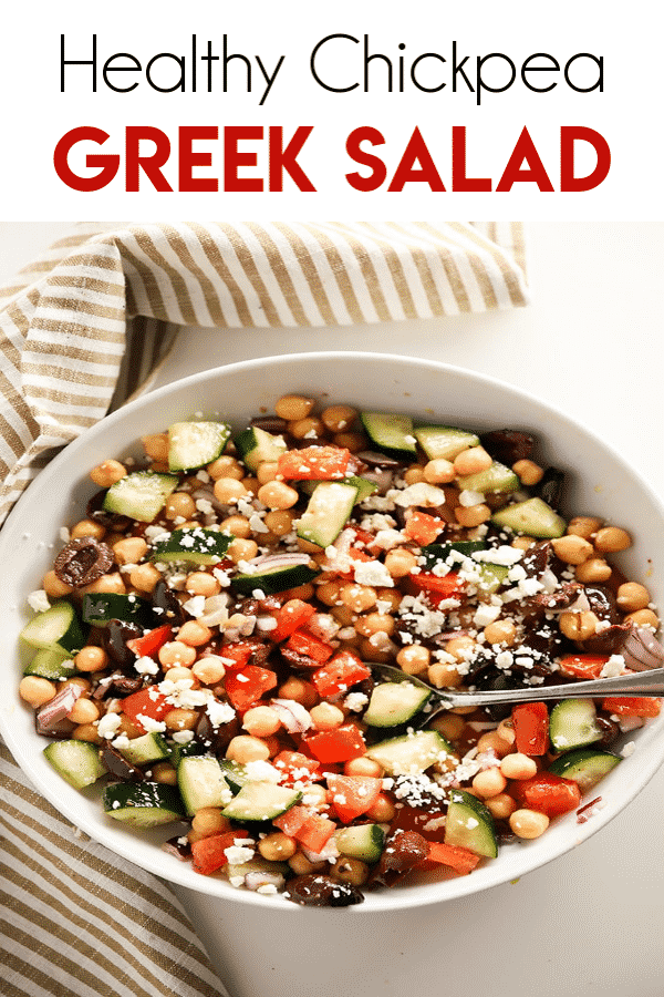 Easy Greek Chickpea Salad Easy Greek Chickpea Salad is a mouthwatering healthy salad that is packed full of amazing flavors and textures! Chickpeas come together with fresh vegetables, olives, cheese, and a simple dressing for the best and easiest chickpea salad ever!
