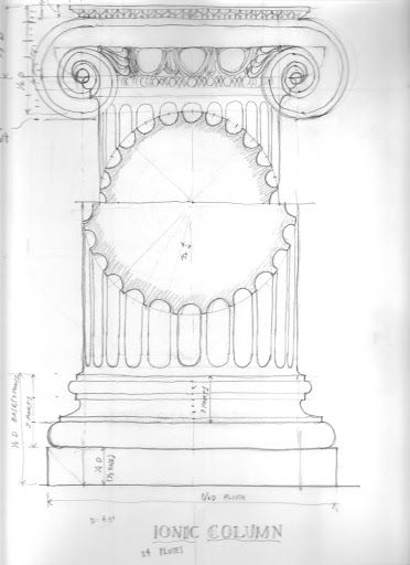 Hand sketch of an Ionic column with proportional ...