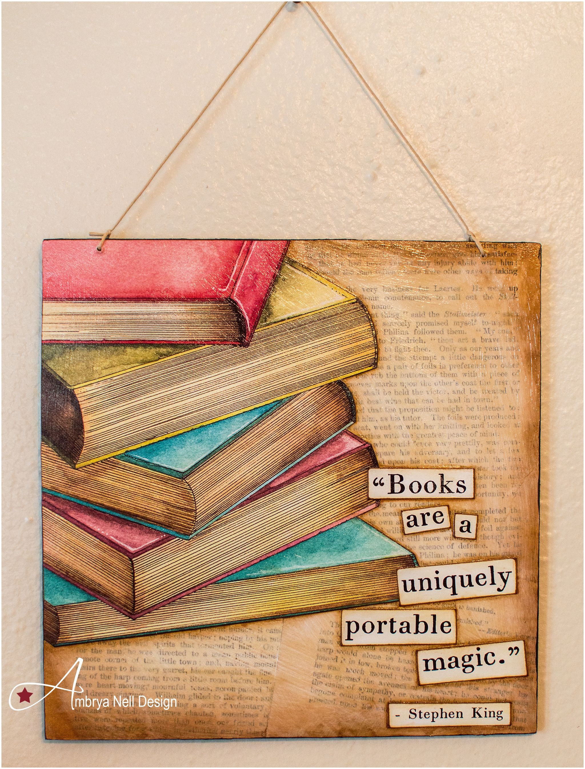 Watercolor books for sale - 8x8 Re Purposed Wooden Board Vintage Book Pages Mod Podged For The