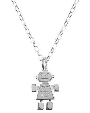 715b10179555 KAREN WALKER Silver  Girl Robot Pendant  necklace