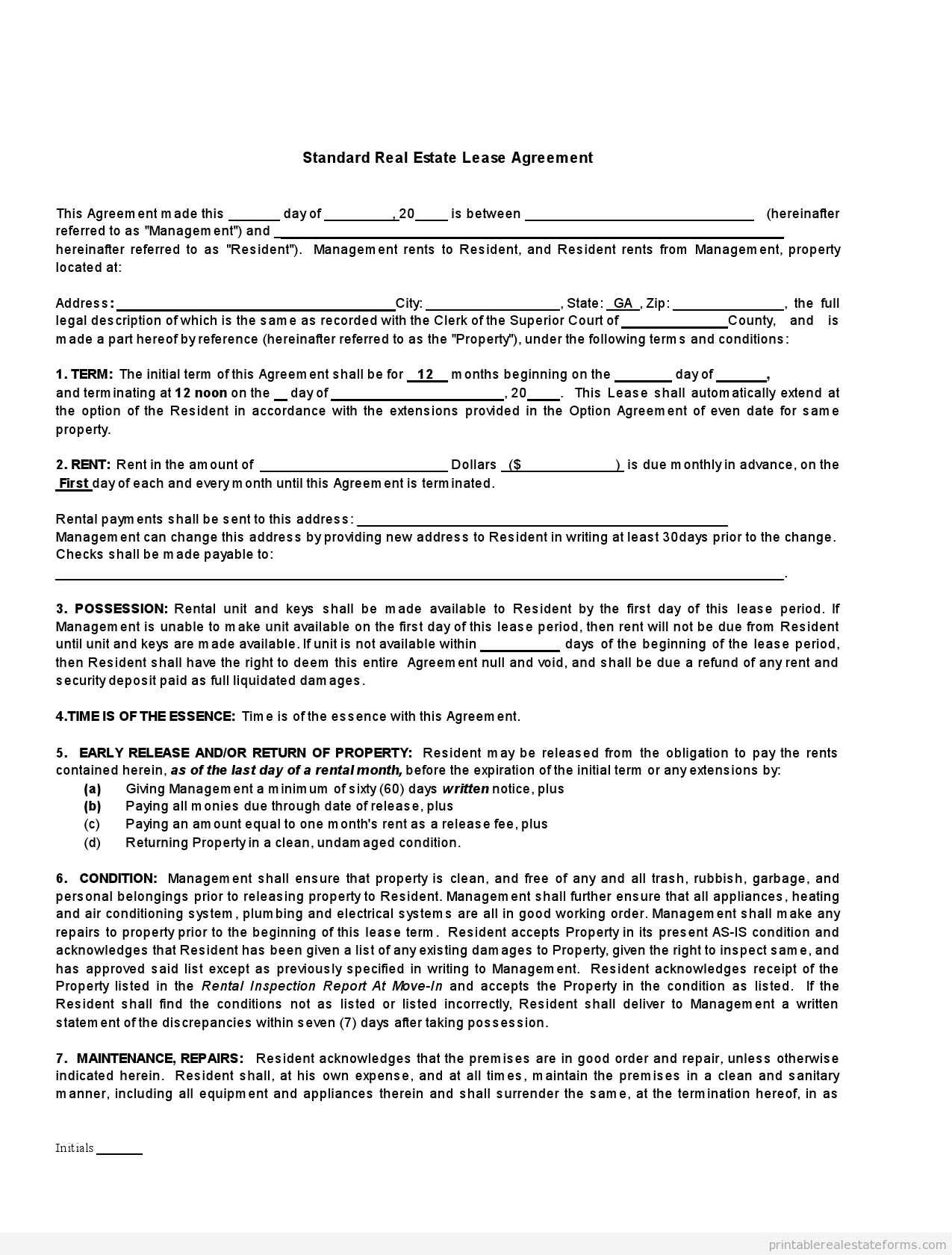 Printable Standard Real Estate Lease Agreement Buying Template