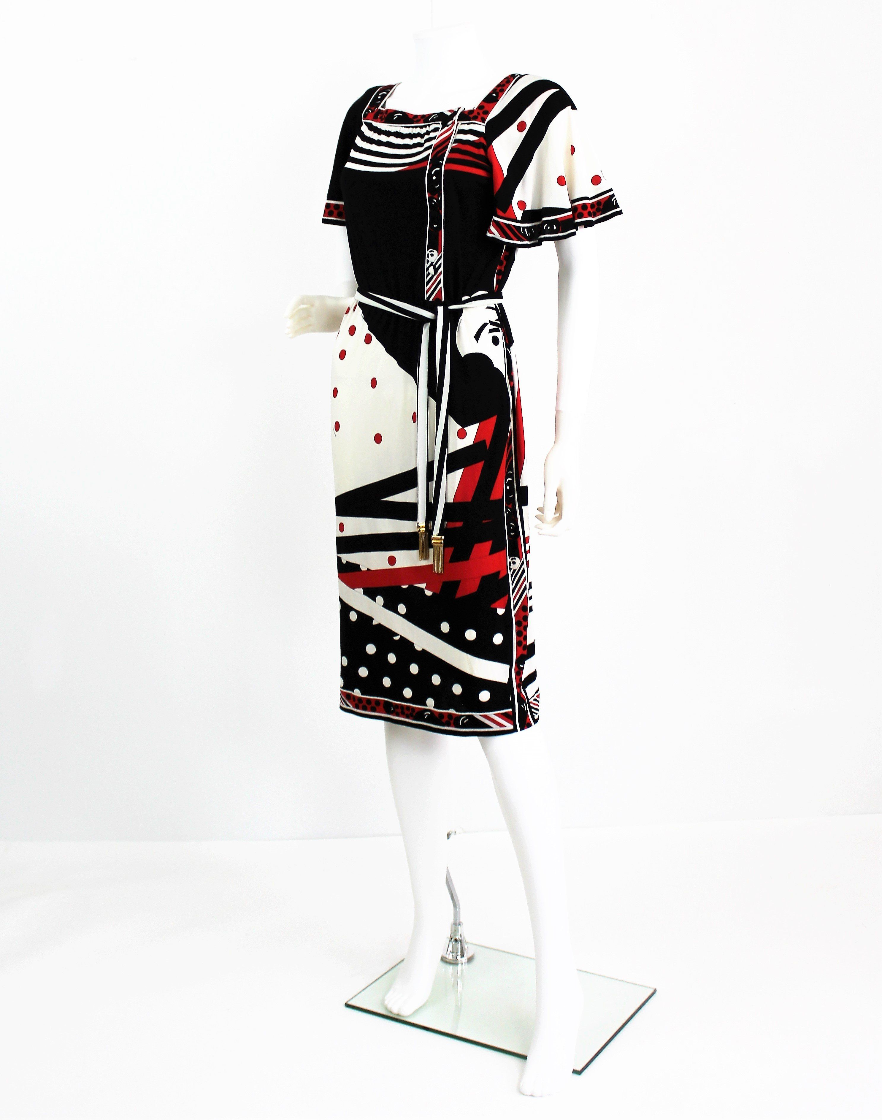 7cce42b334b7 Vintage 1960s Leonard Studio Silk Black and Red Mixed Print Dress-Made in  Italy