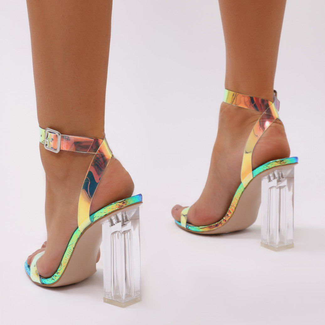 748b5e8a9700 Alia Strappy Clear Perspex High Heels in Iridescent