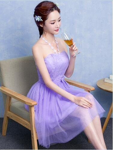 어깨 오프 섹시한 짧은 라벤더 핑크 샴페인 졸업 드레스 고삐 넥 민소매 웨딩 파티 Vestidos