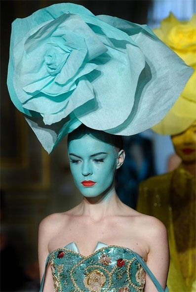 flower head piece in haute couture