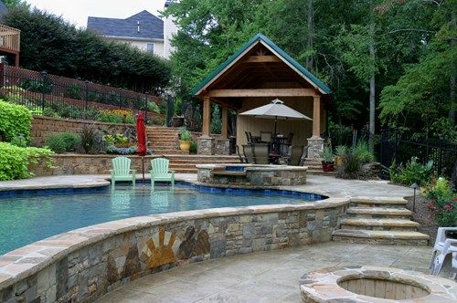 Terraced backyard swimming pool artistic landscapes 10355 for Pool design for sloped yard