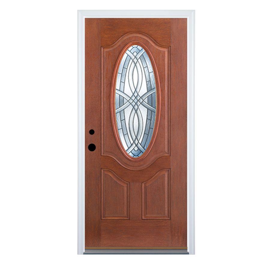 Therma Tru Benchmark Doors Terracourt 2 Panel Insulating Core Oval Lite Right Hand Inswing Dark Mahogany Fibe Mahogany Stain Fiberglass Entry Doors Entry Doors