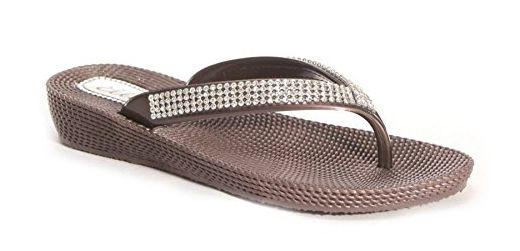 Damen Pantoletten Sandalen Flip-Flops, Sommer, Strand, mit Keil, bequem, braun - braun - Größe: 36.5