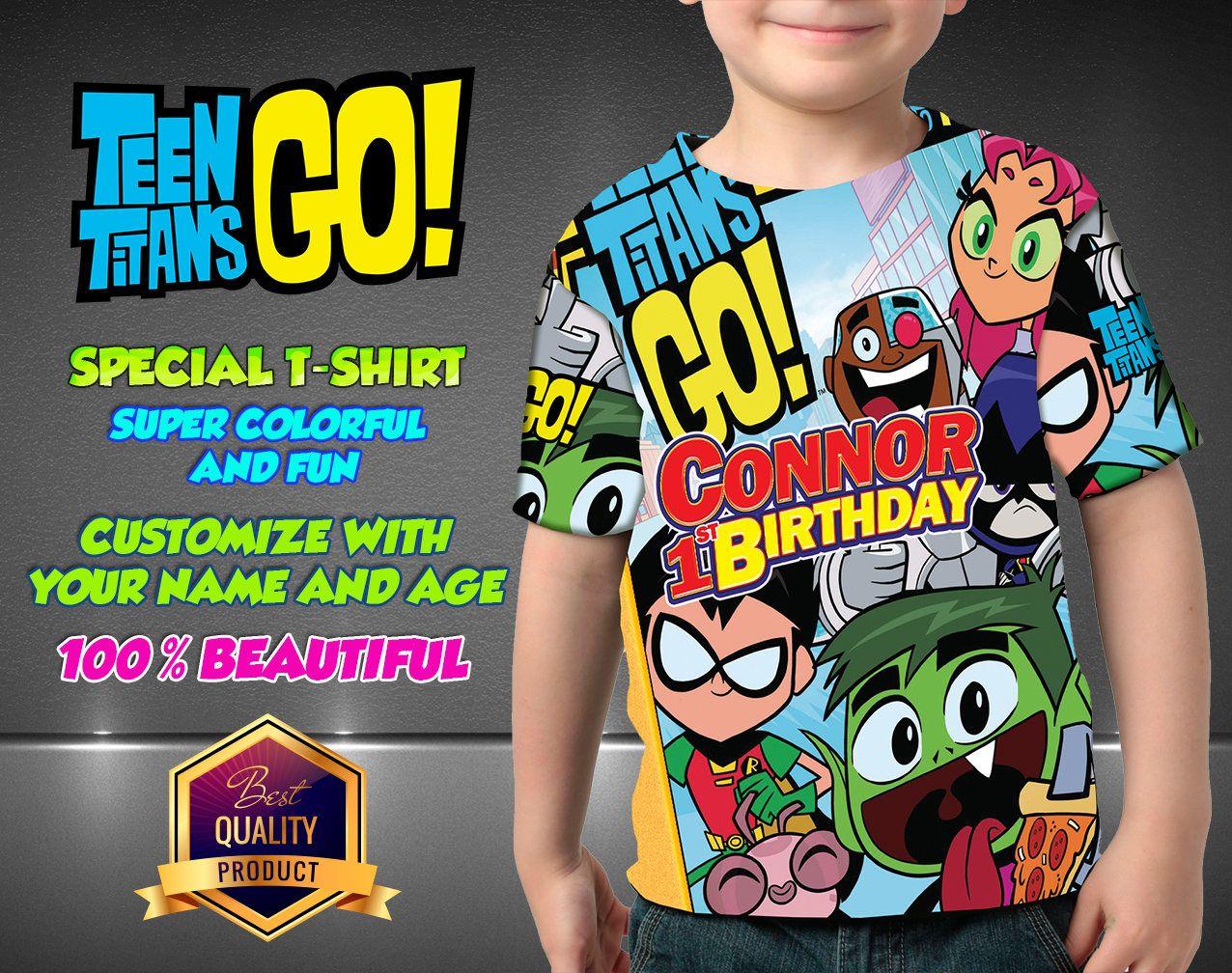 All sizes Teen Titans Go Personalized T Shirt Teen Titans Birthday Shirt