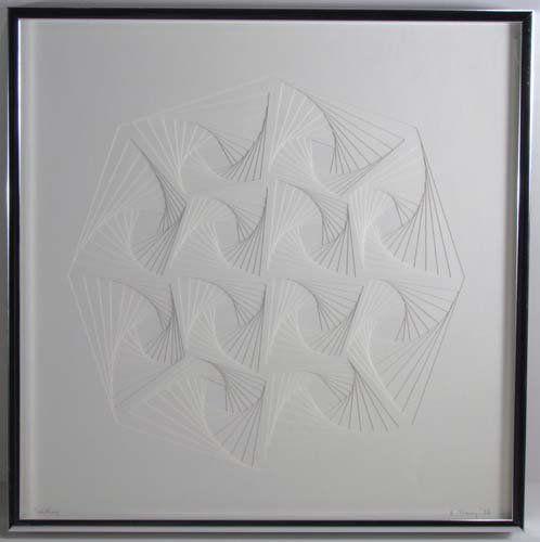"""787: Elizabeth Slaney """"Untitled"""" paper relief : Lot 787"""
