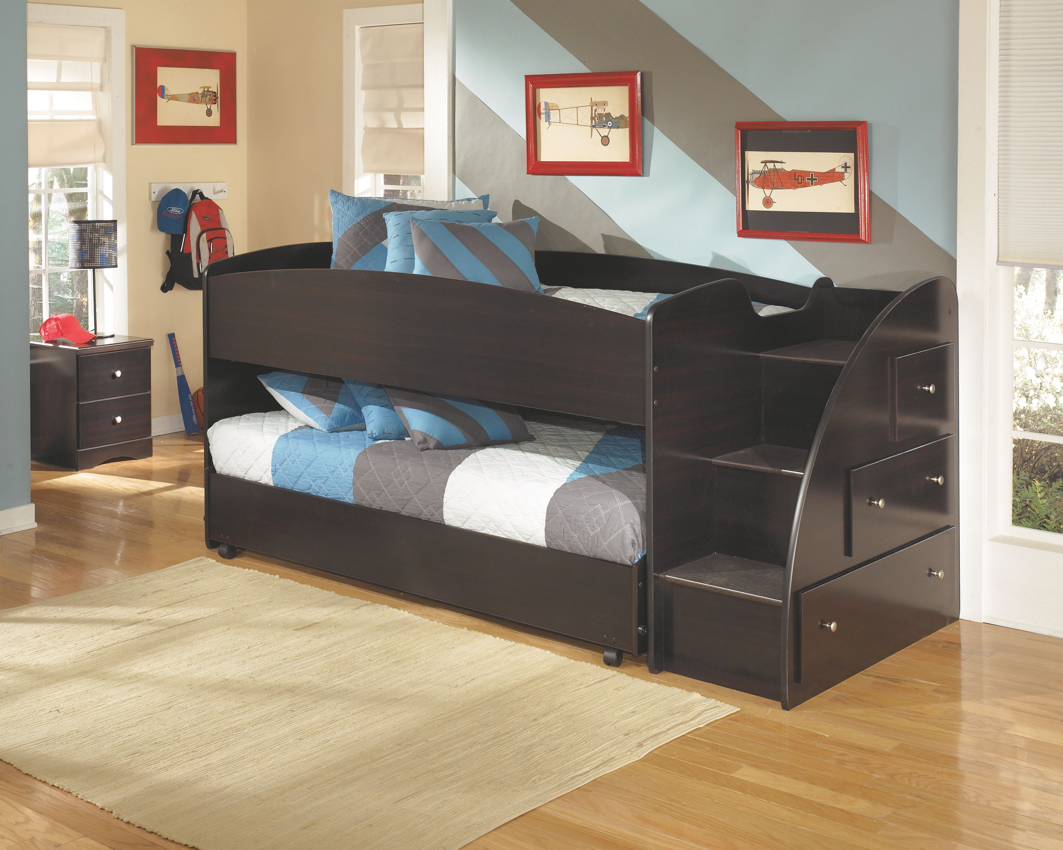 Embrace Loft Bed with Caster and Right Steps, Merlot