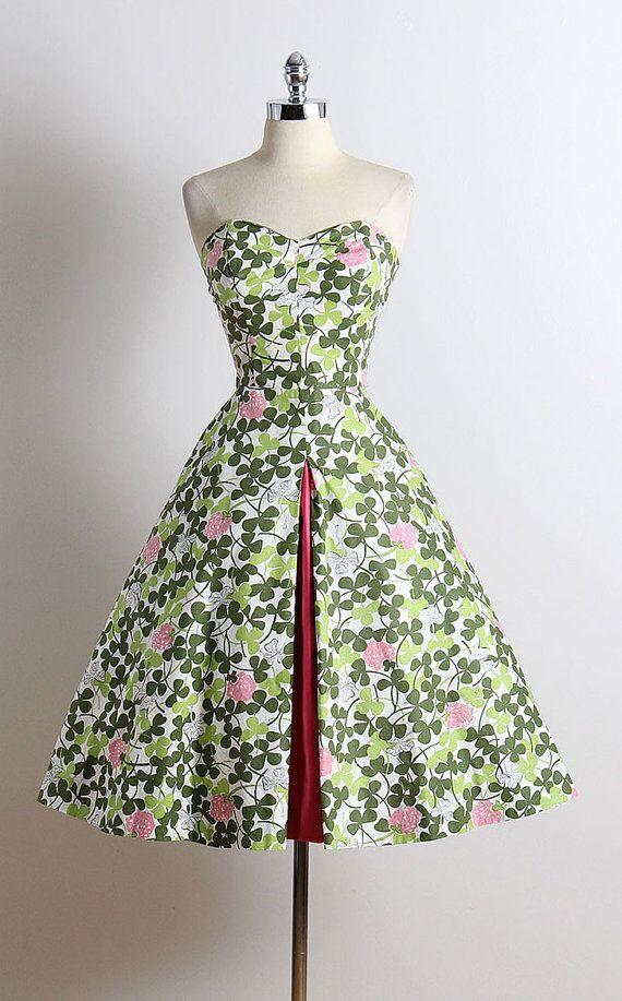 ➳ vintage 1950s dress  * white cotton * green clover & raspberry print * pink peek-a-boo skirt insert * optional halter straps * metal back