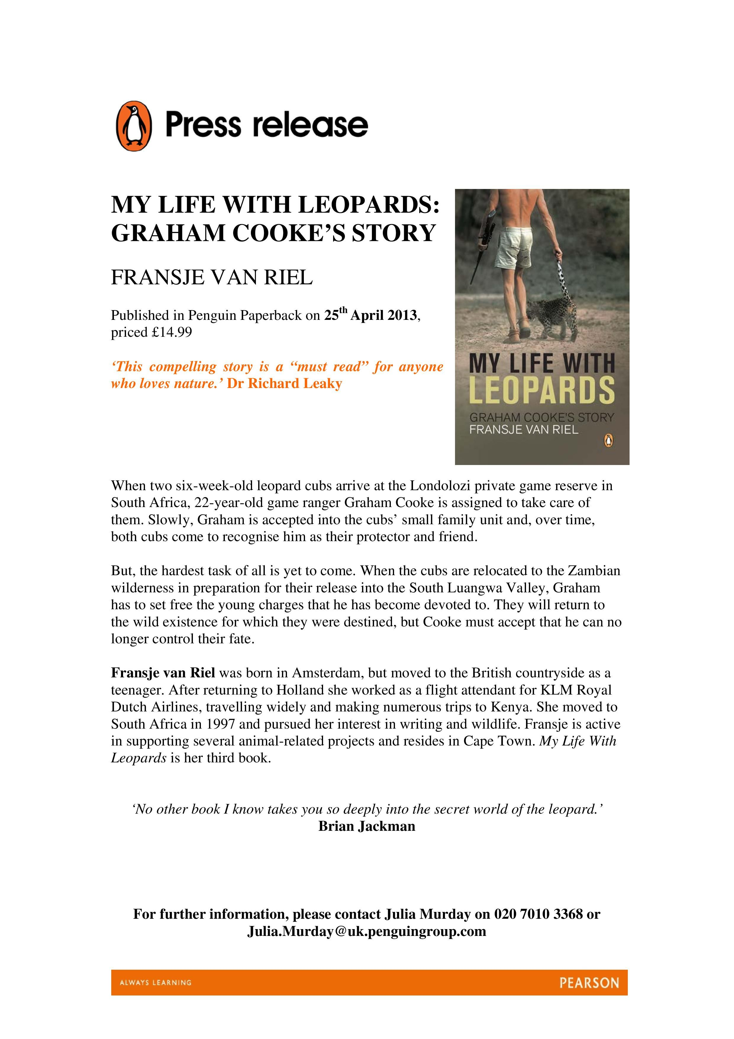 Example Press Release Courtesy Of Penguin Books Uk My Life With Leopards Available Online And In Stores Penguin Books Uk Press Release Example Press Release Writing a press release template