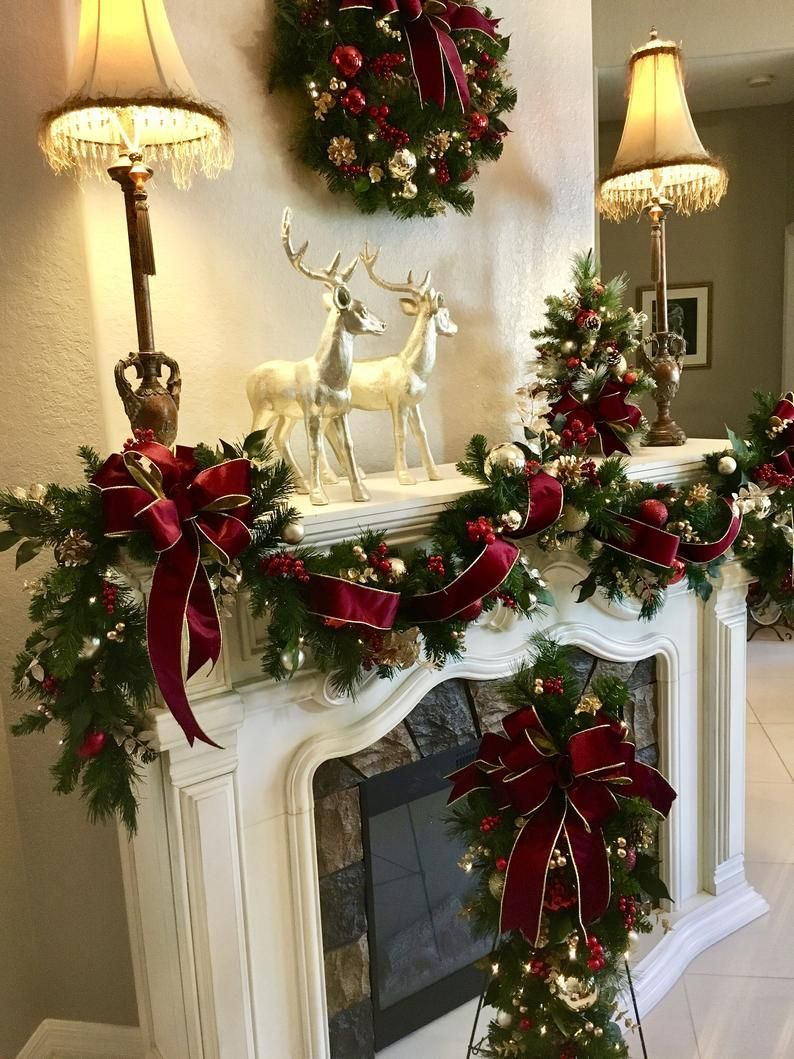 4 PC Set Christmas Wreath, Garland,   Burgundy  Ri