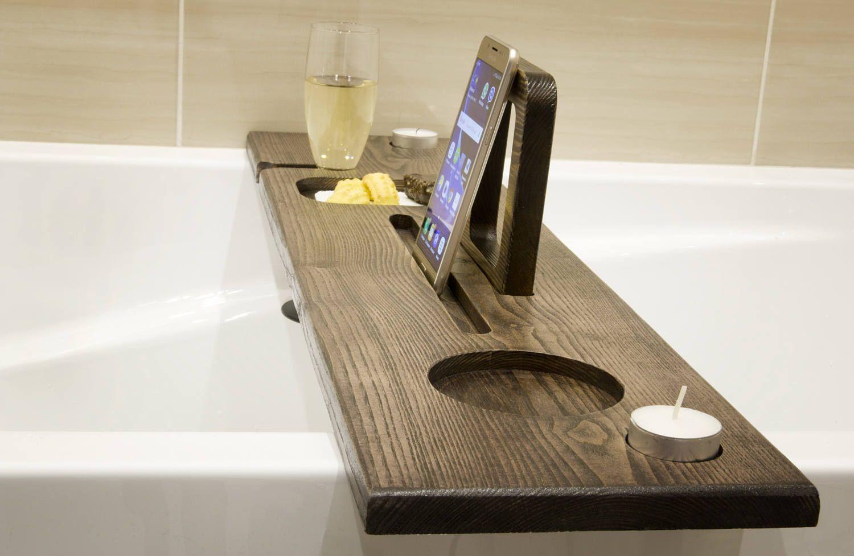 Bath caddy Bath ipad stand Bath Drinks holder Birthday | wooden ...