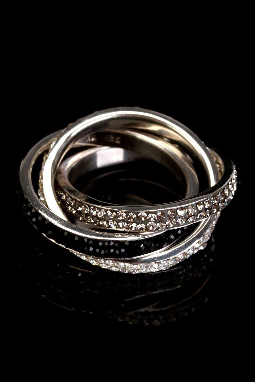 Fuzion  Sterling Silver & Multicolored Crystal Interlocking Rings  $99.99