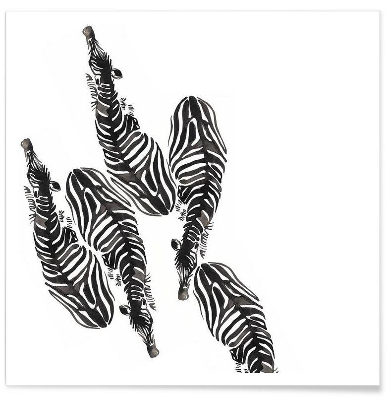 Zebra als Premium Poster door Victoria Verbaan | JUNIQE