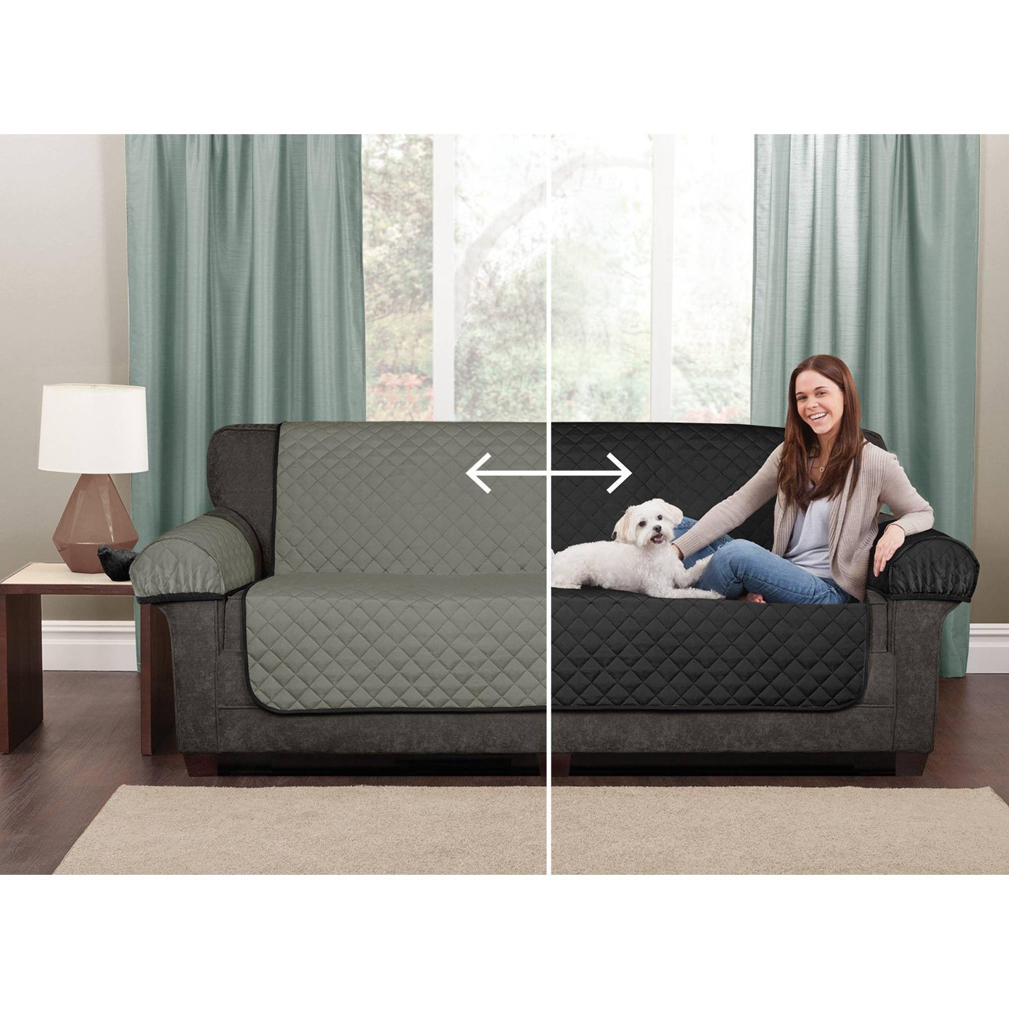 Black Reversible Pet Cover Microfiber Love Seat Slipcover Maytex