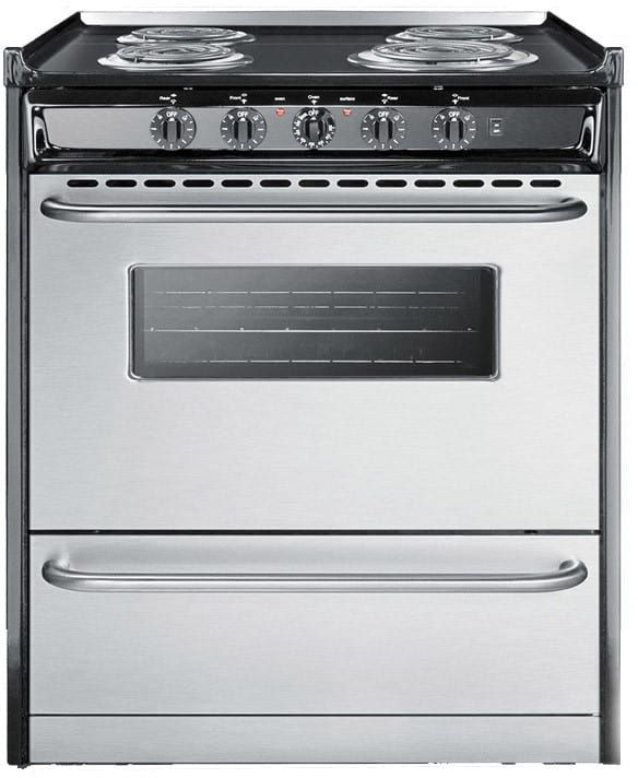 summit slidein gas range with 4 sealed burners porcelain cooktop surface electronic ignition and broiler compartment in stainless