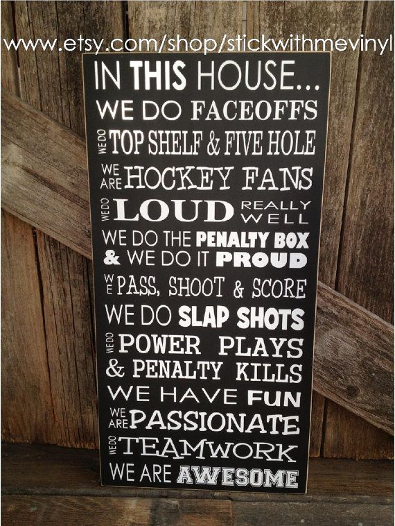 In This House We Do Faceoffs Hockey Sport Home Family Fan Sign Decor On